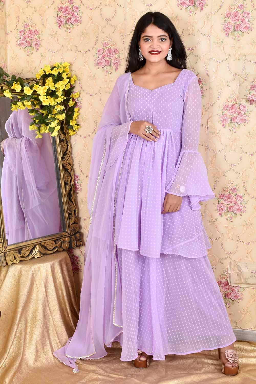 Lavender Dobby Georgette Sharara Suit