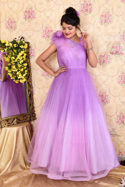 Lavender Draped Organza Gown