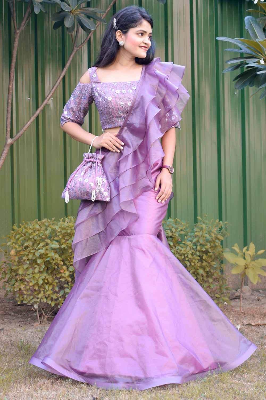Lavender Draped Organza Sari with Stitched Blouse
