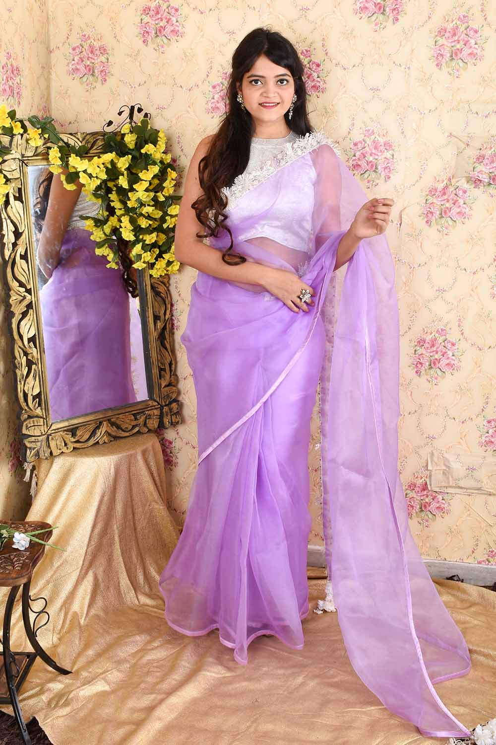 Lavender Organza Saree with stitched Silver Brocade Blouse