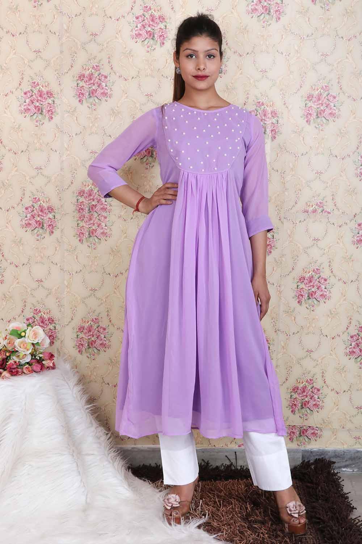 Lavender Pearl Long Kurti