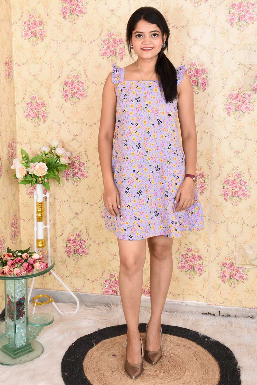 Lavender Printed Crepe Dress