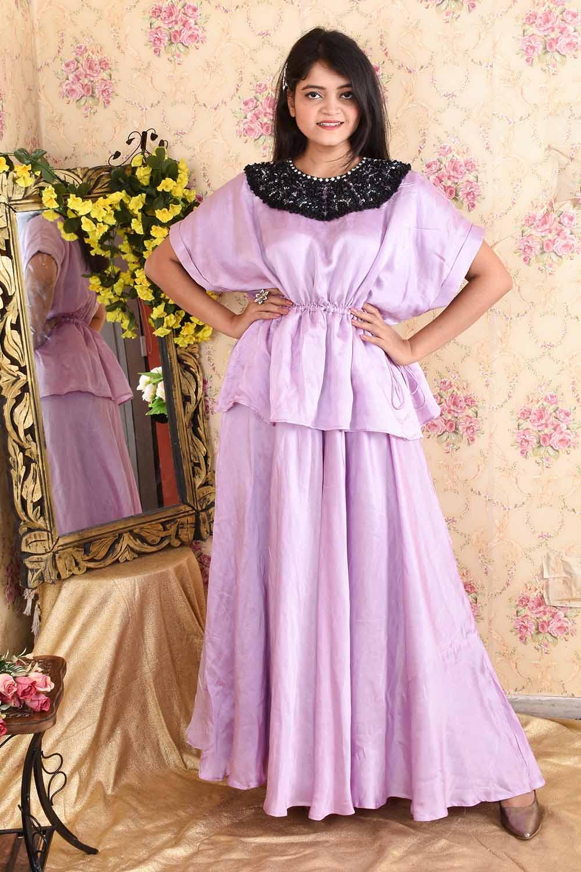 Lavender Satin Silk Gown