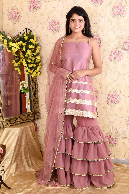 Lavender Silk Sharara Suit with Dupatta