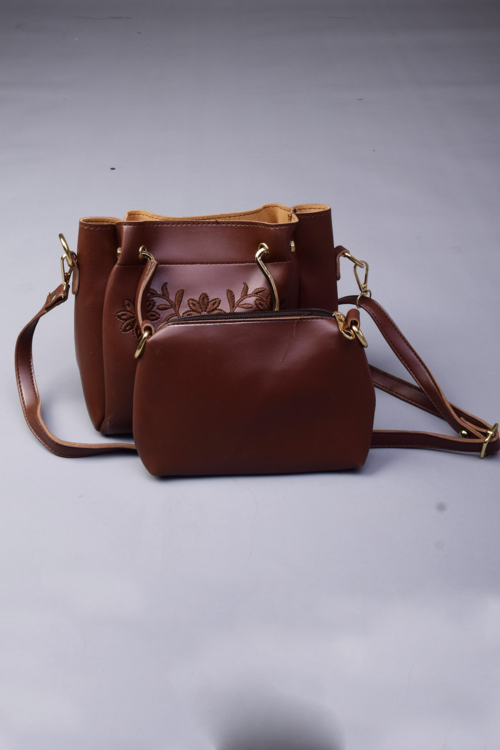 Leather Material Brown Embroidery Pack Of Two Handbags