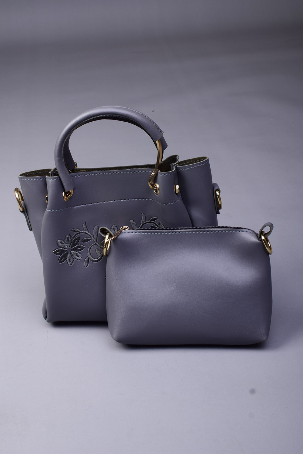 Leather Material Grey Embroidery Pack Of Two Handbags