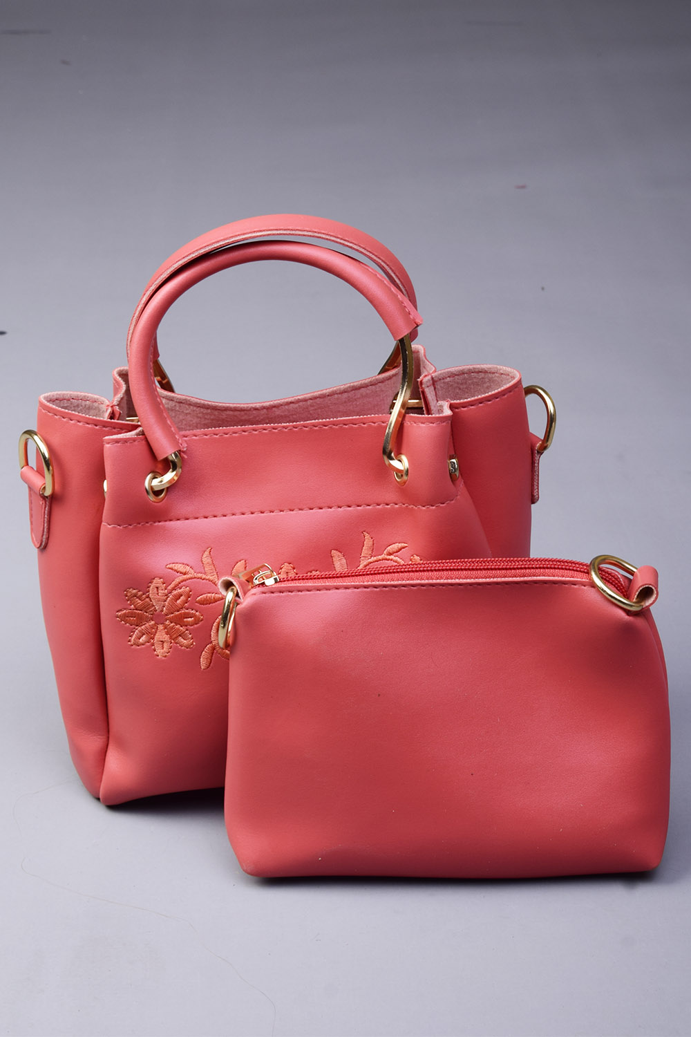 Leather Material Peach Embroidery Pack Of Two Handbags