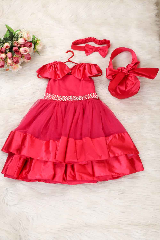Magenta Pink Knee Length Dress with Bag