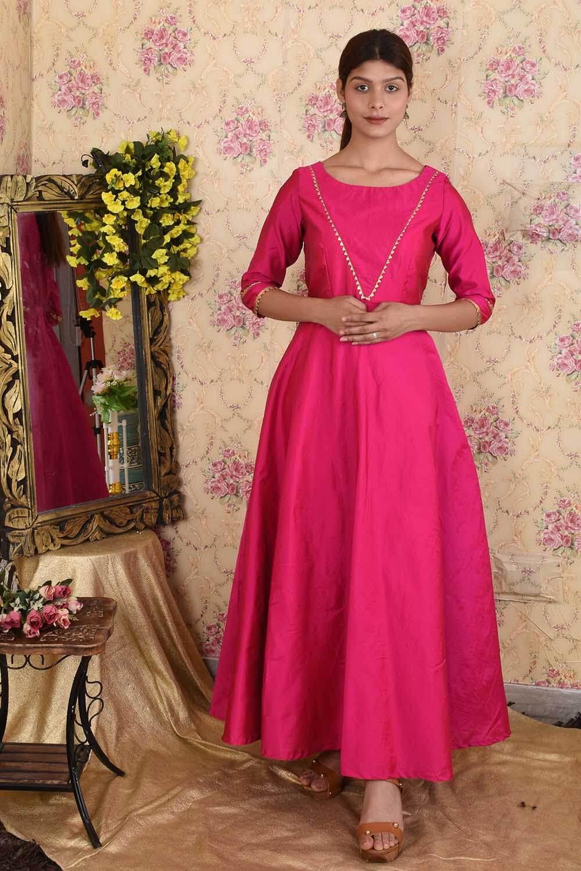 Magenta pink taffeta silk Anarkali