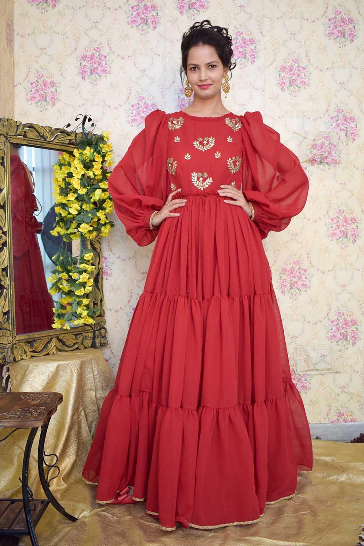 Maroon Embroidered Massive Flare Dress