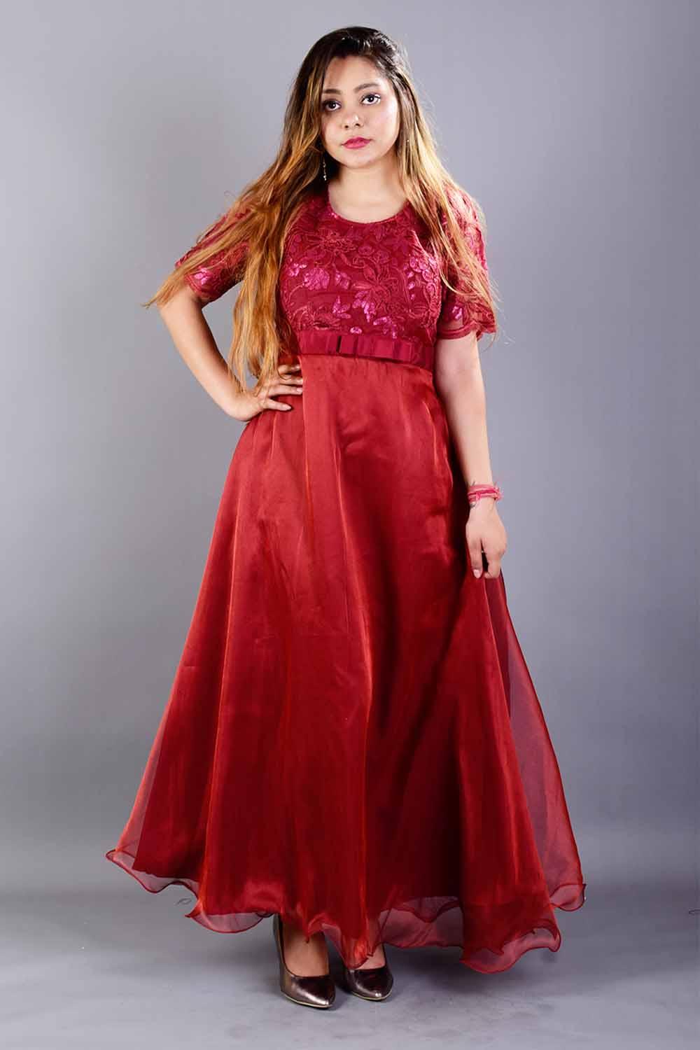Maroon Pure Organza Gown
