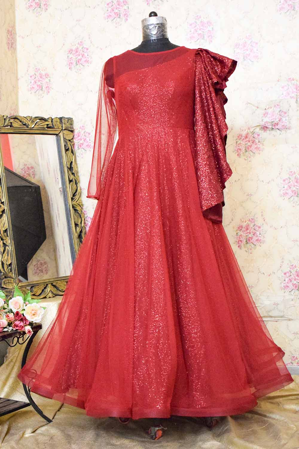 Maroon Sequins and Net Gown with Designer Sleeves