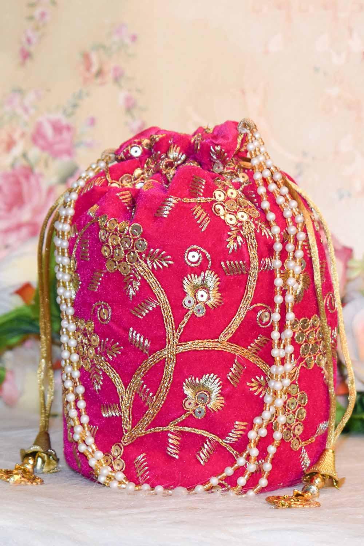 Mazenta Pink Embellished Potli Bag
