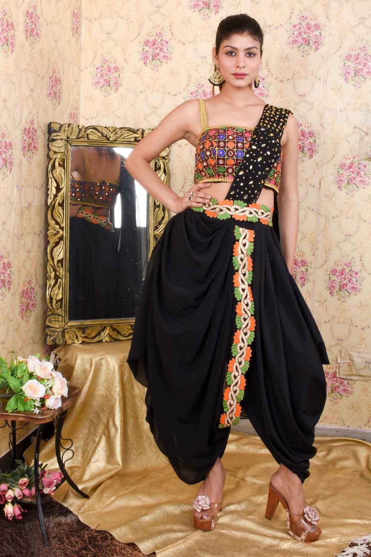 Multicolor Dhoti Style Draped Saree