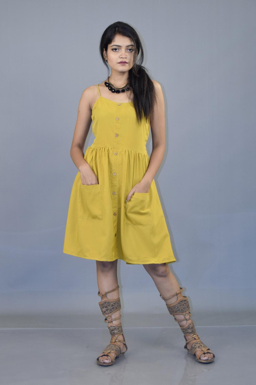 Mustard Crepe Pocket Dress