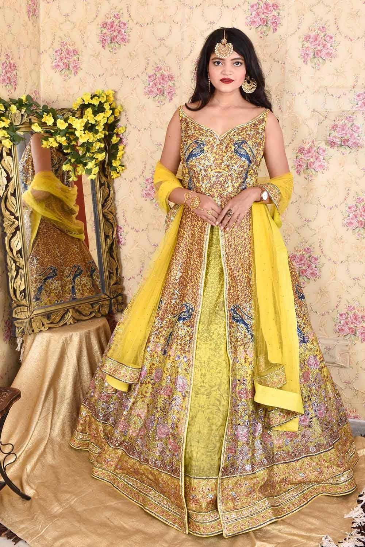 Mustard Mirror work Gown with Dupatta
