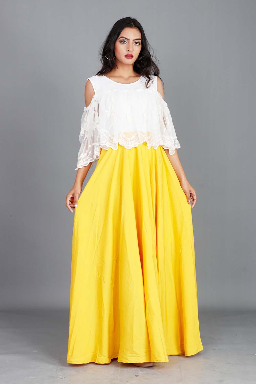 Mustard Offshoulder Gown