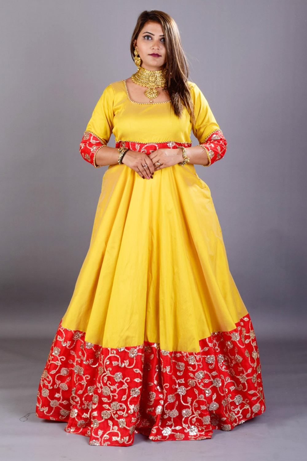 Mustard-Red Party Wear Gown