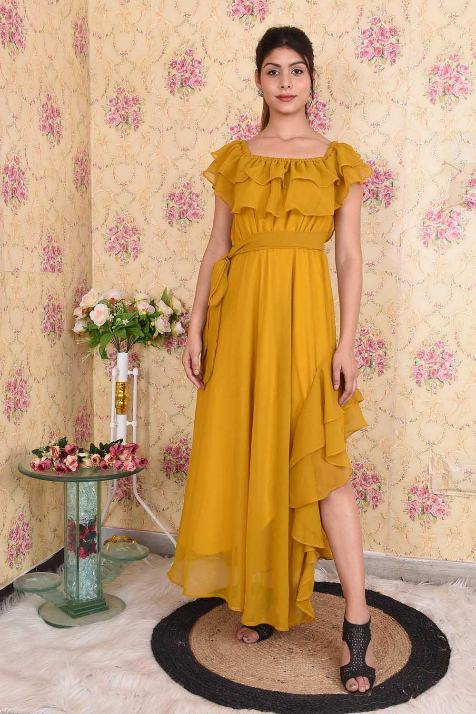 Mustard Side Stylish Slit Dress