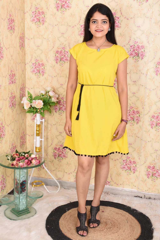 Mustard Solid Crepe Dress with Pom pom