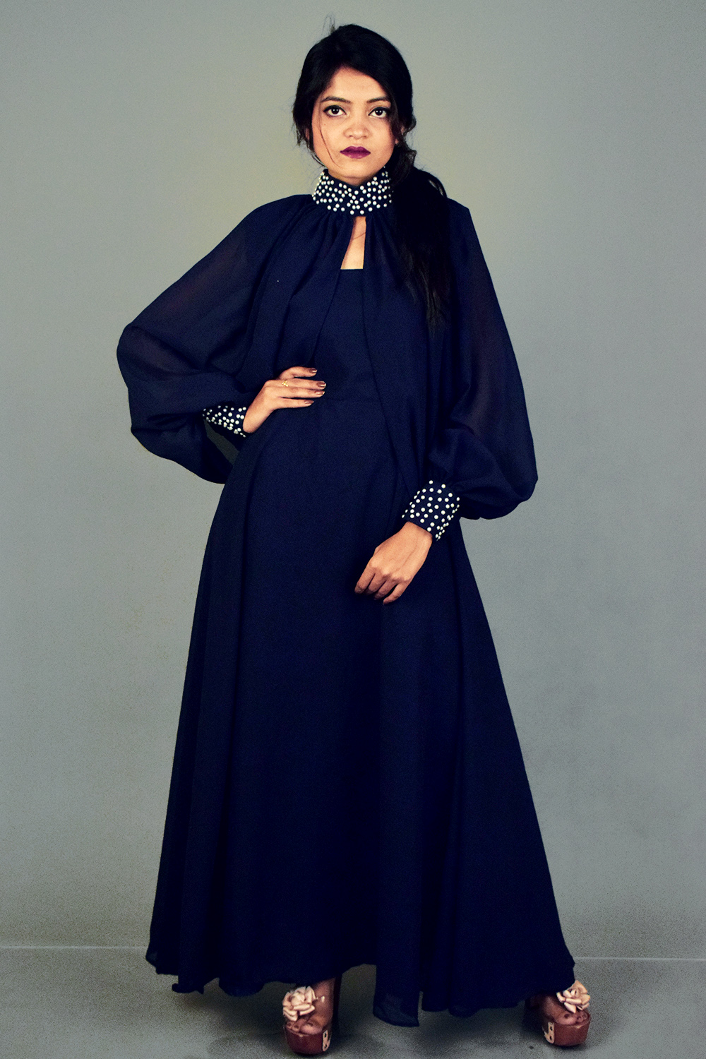 Navy Blue Anarkali with Cape sleeves