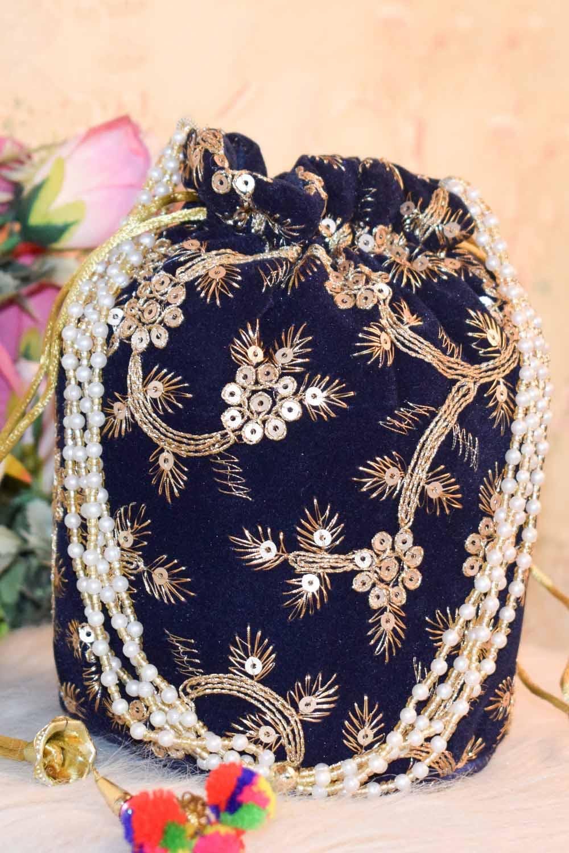 Navy Blue Embellished Potli Bag