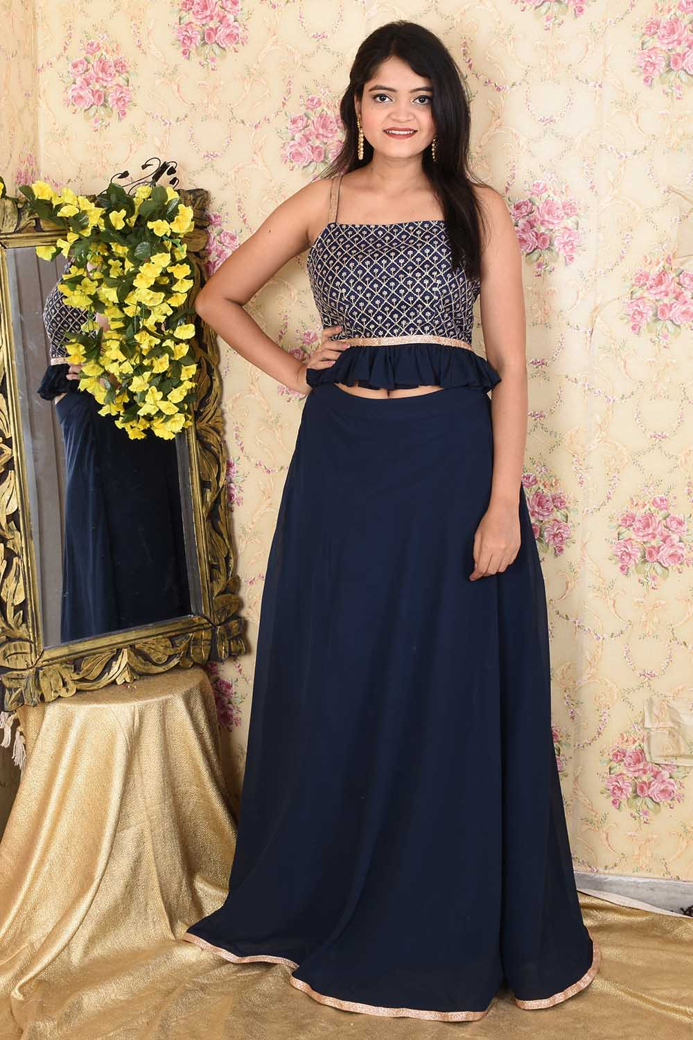 Navy Blue Embroidered Top Skirt Set