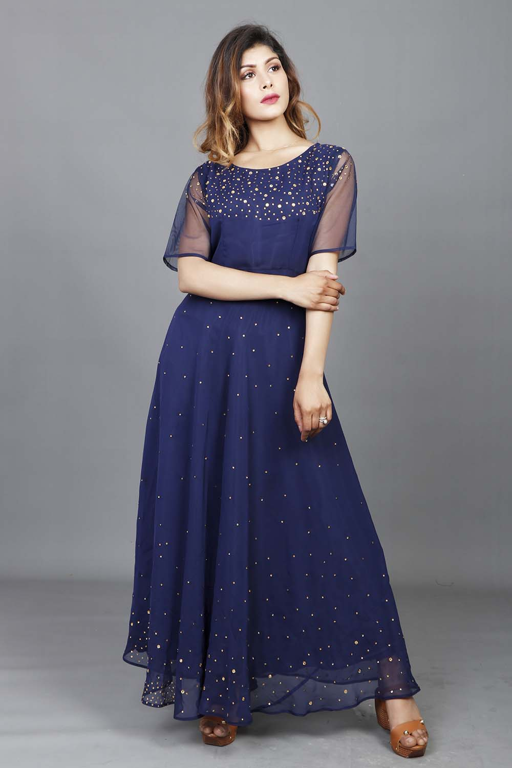 Navy Blue Fully Stones Work Georgette Gown