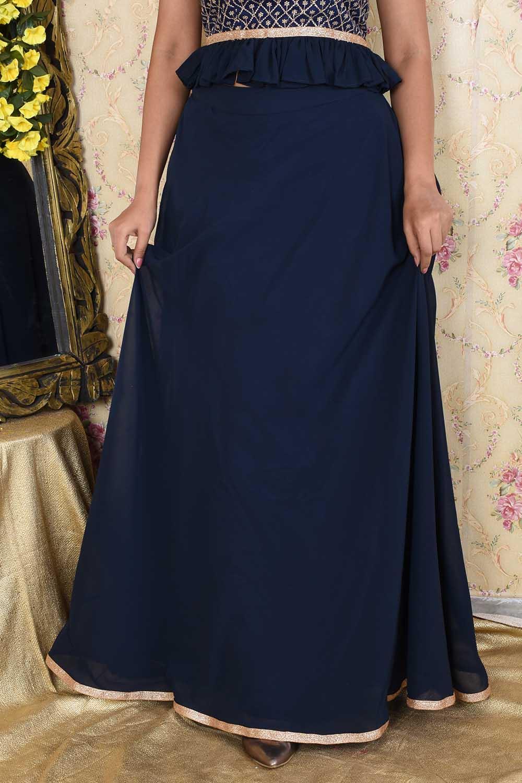 Navy Blue Georgette Long Skirt