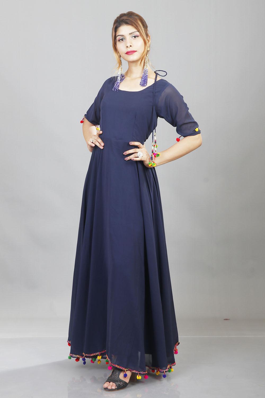 Navy Blue Lashkara Anarkali