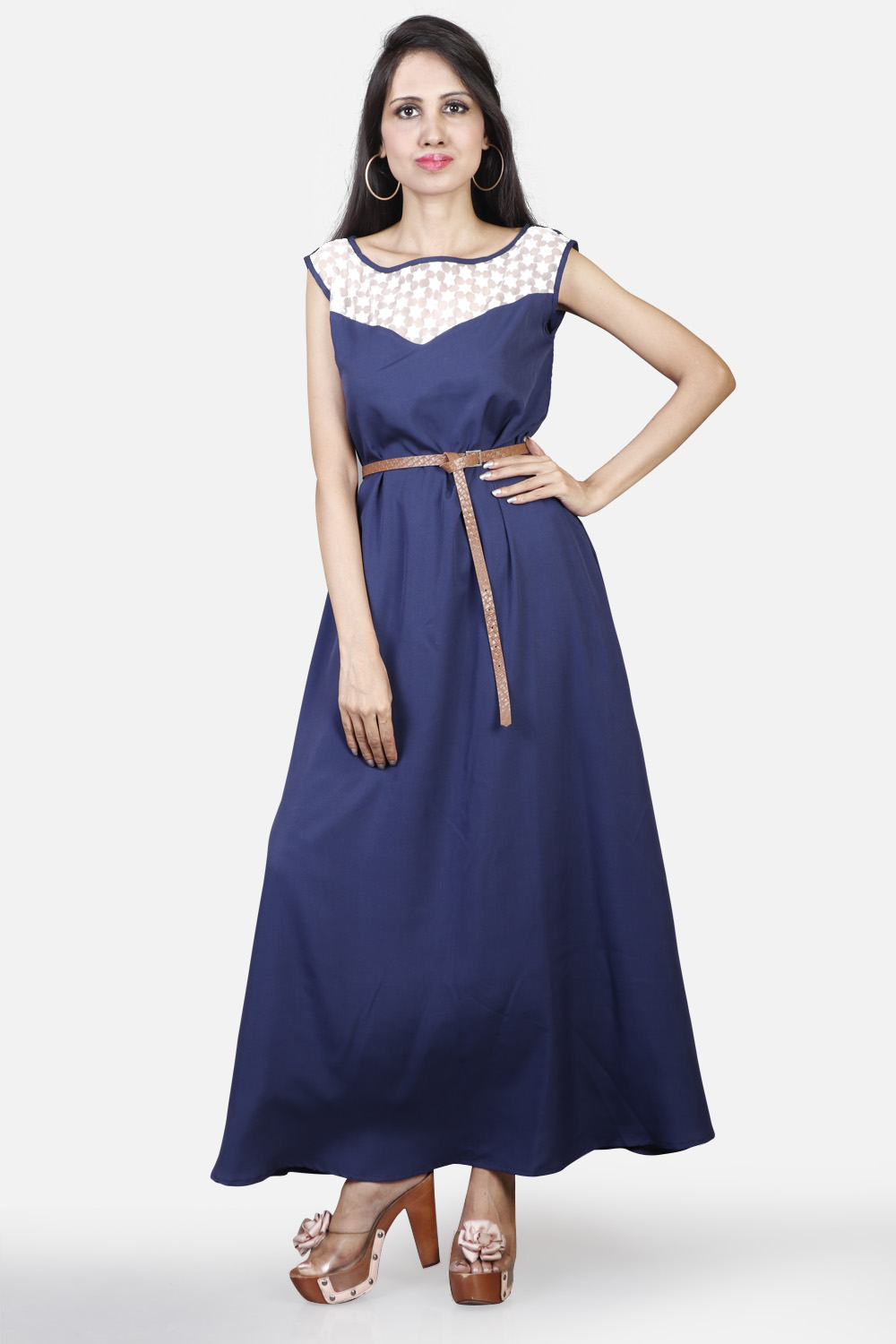 Navy Blue Maxi With Belt