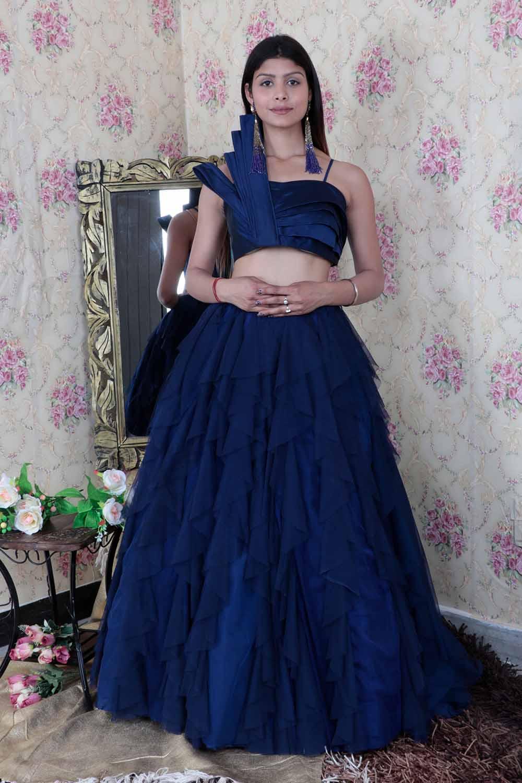 Navy Blue Partywear Skirt Top set