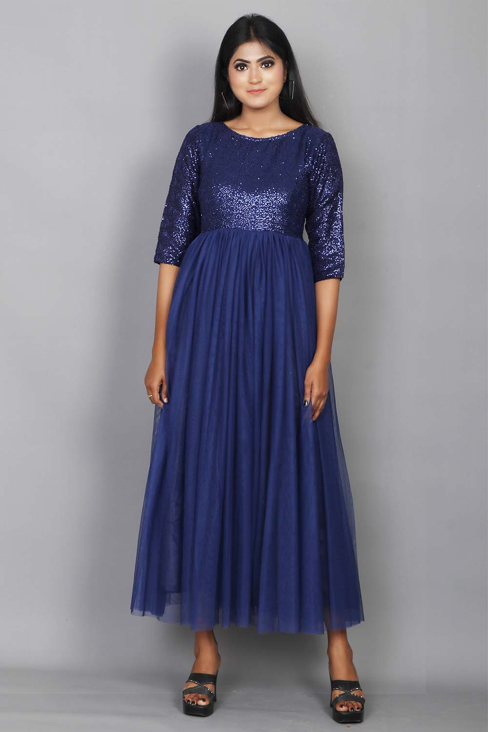 Navy Blue Sequins And Net Long Gown