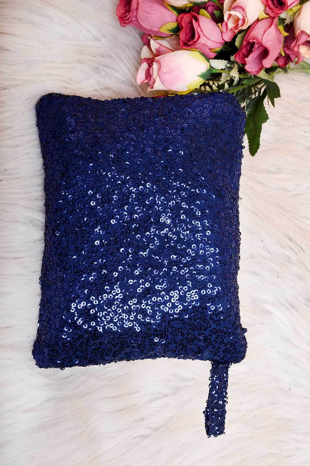 Navy Blue Sequins Pouch
