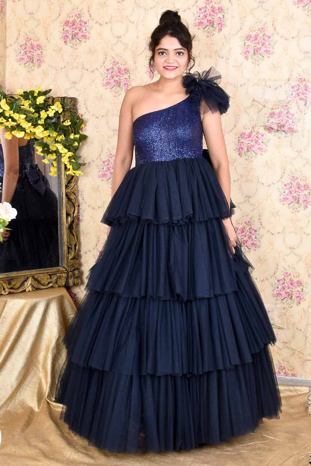 Navy Blue Sequins and Net Ruffled Gown