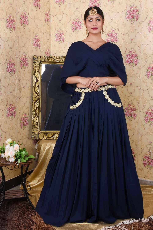 Navy Blue Stylish Skirt Top Set