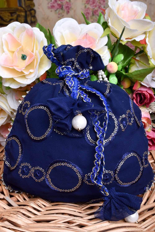 Navy Blue Velvet Potli Bag
