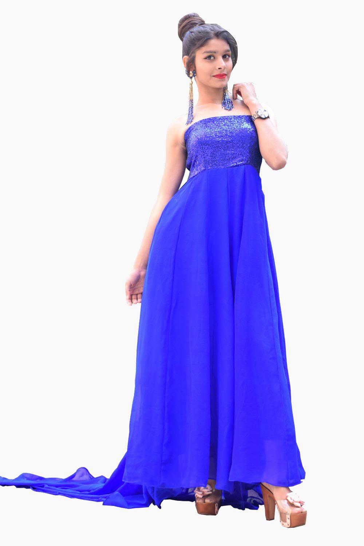 Off-Shoulder Blue Gown