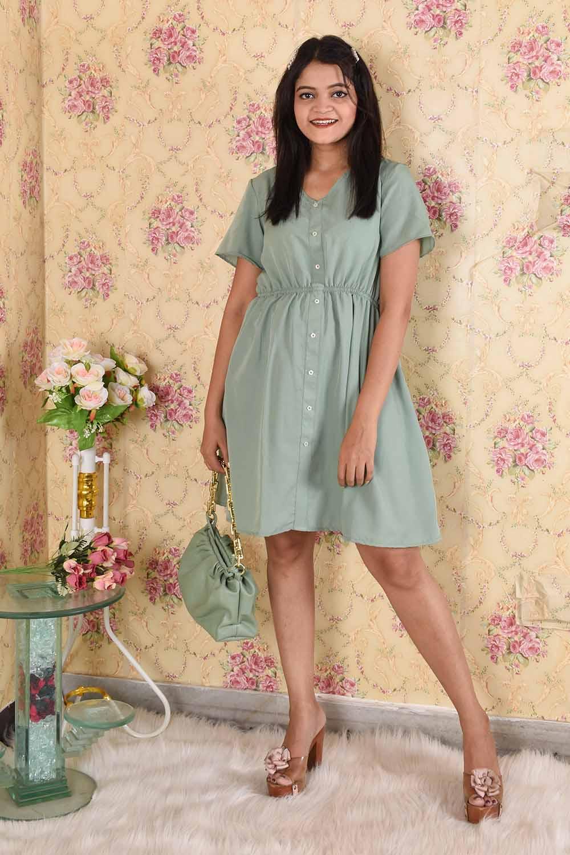 Olive Green Crepe Dress