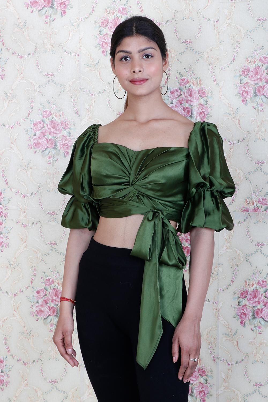 Olive Green Designer Crop Top