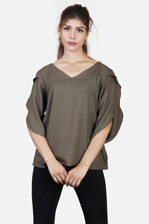 Olive Green Designer Sleeves Top