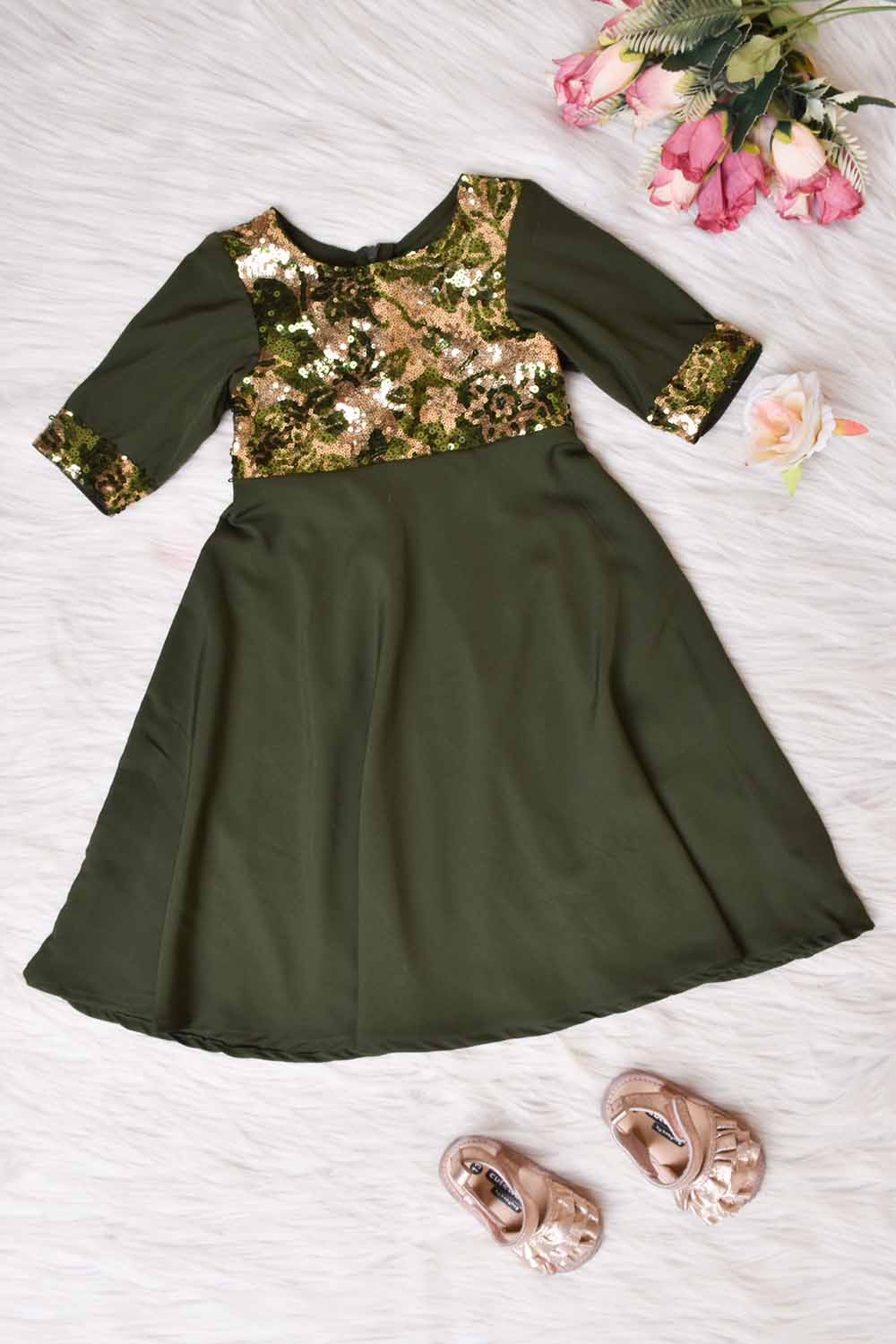 Olive Green Kids Gown