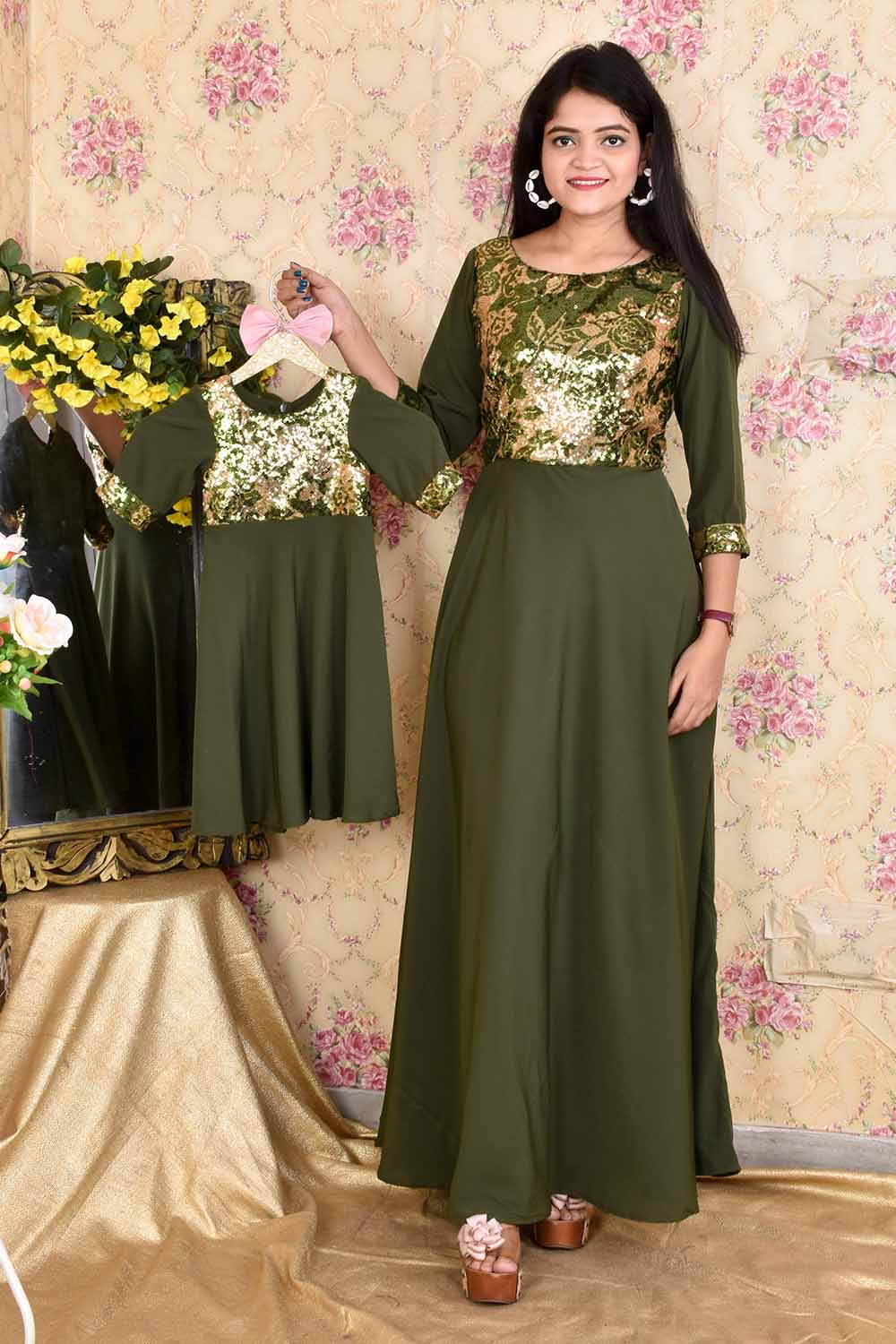 Olive Green Mother-Daughter Gown Combo