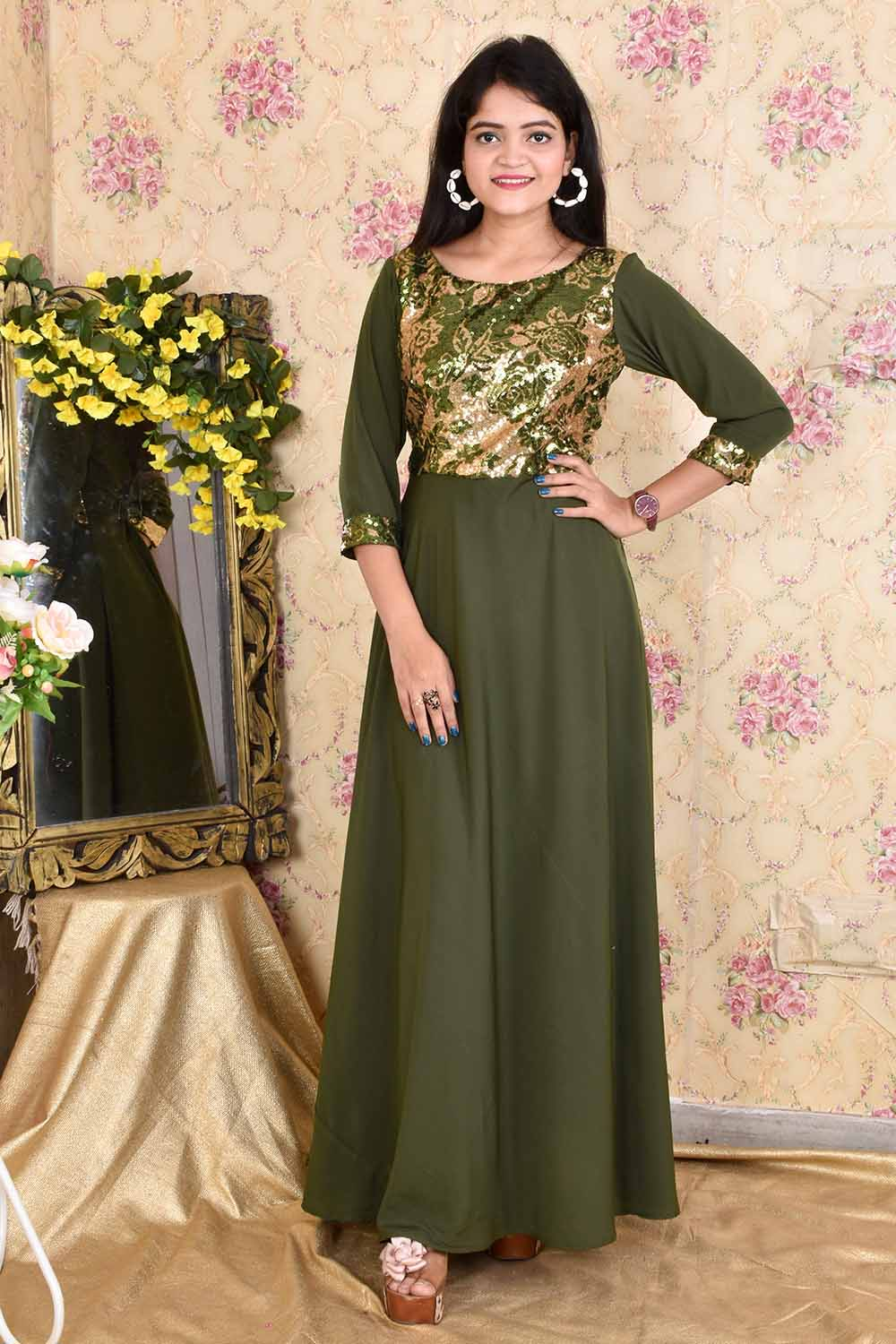 Olive Green Sequins and Crepe Gown