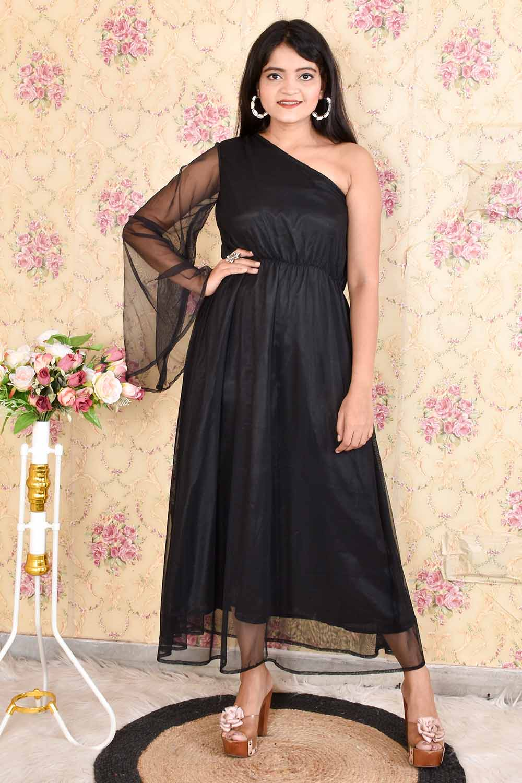 One Shoulder Net Maxi Dress