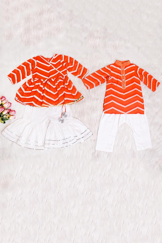 Orange Lahariya Kids Combo Set