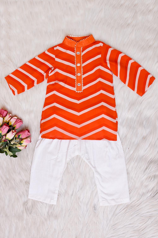 Orange Lahariya Kurta Pant Set