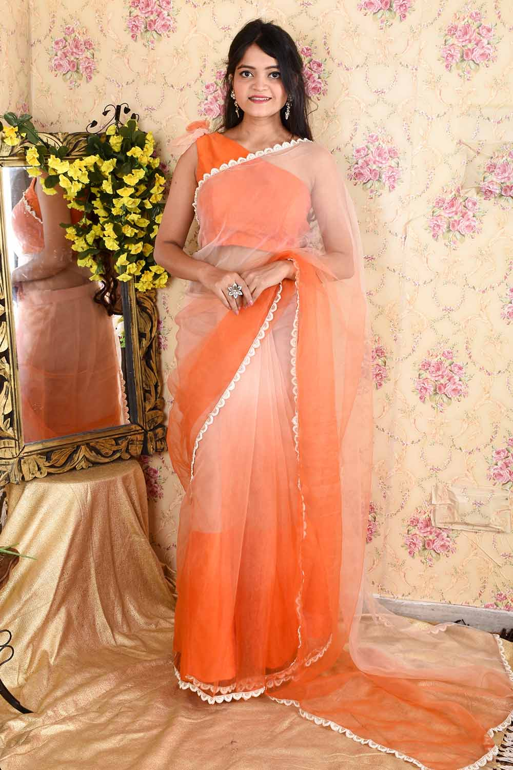 Orange Ombre Organza Saree with stitched blouse