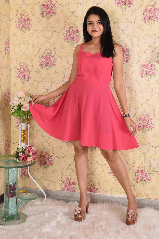 Solid Pink Skater Dress