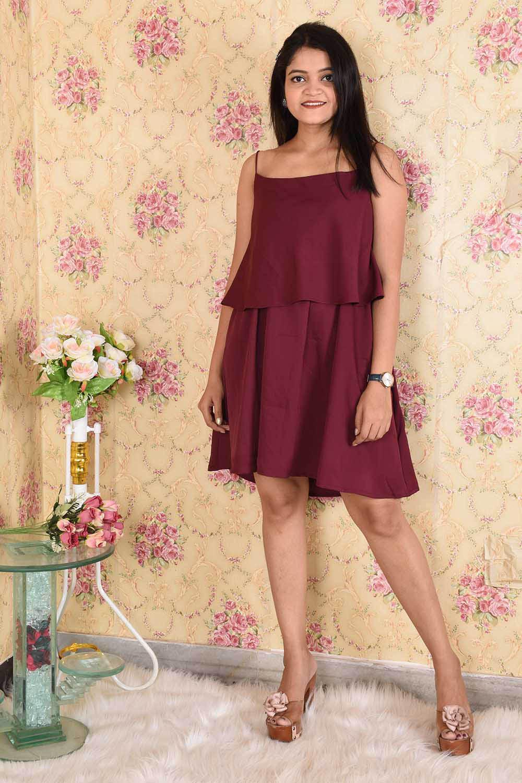 Solid Maroon Layered Dress